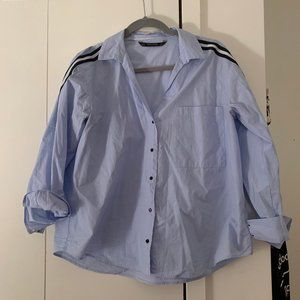 Zara Button Down Shirt with Sleeve Detailing